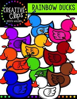 Rainbow Ducks {Creative Clips Digital Clipart}