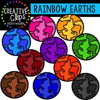 Rainbow Earths {Creative Clips Digital Clipart}
