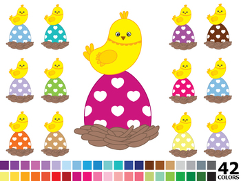Rainbow Easter Clipart - Digital Vector Colorful Eggs, Chicken, Easter Clip Art