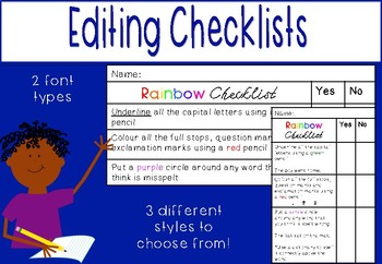 Rainbow Edit Checklist for Editing Writing