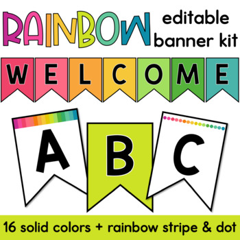 Rainbow Editable Banner Kit | Classroom Decor