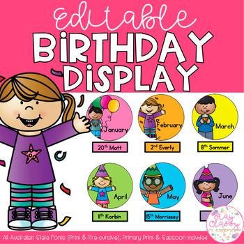 Rainbow Editable Birthday Display
