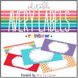 Rainbow Editable Classroom Labels 2x4 { Avery Label 8163 }
