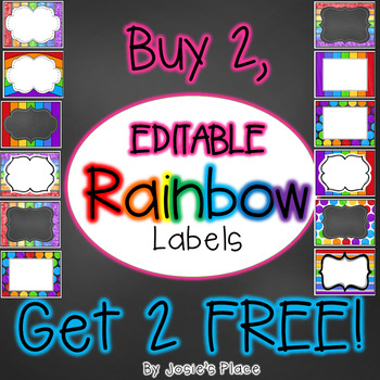 Rainbow Editable Labels Buy 2, Get 2 FREE!
