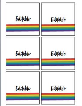Rainbow *Editable* Supply Labels - Blank