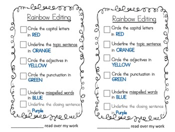 Rainbow Editing Check-List for Paragraph Writing