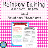 Rainbow Editing Writing Process Anchor Chart and Student Handout