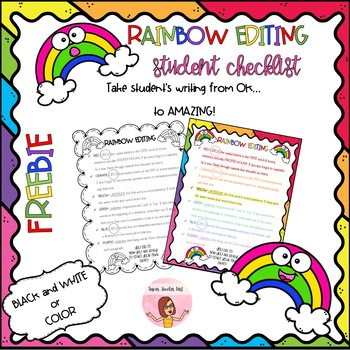 Rainbow Editing Student Writing Checklist