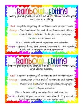 Rainbow Editing - Writing Folder