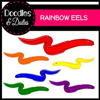 Rainbow Eels {Doodles and Doilies Clipart}