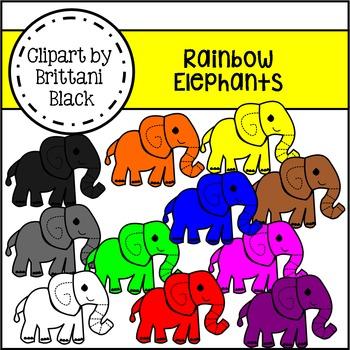 Rainbow Elephants Clipart