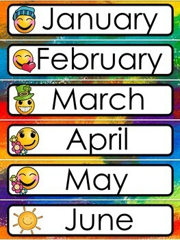 Rainbow Emoji Theme Calendar and Class Schedule - Editable