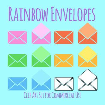 Rainbow Envelopes Clip Art Set for Commercial Use