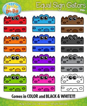 Rainbow Equal Sign Gator Characters Clipart {Zip-A-Dee-Doo-Dah Designs}