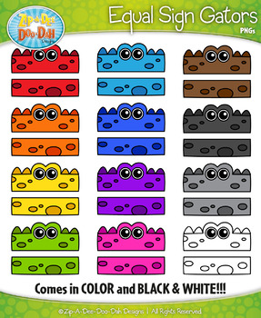 Rainbow Equal Sign Gator Characters Clipart — Includes 12