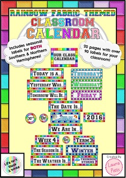 Rainbow Fabric Classroom Calendar Display Labels -Northern & Southern Hemisphere