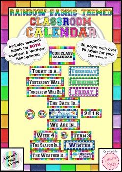 Rainbow Fabric Classroom Calendar Display Labels -Northern
