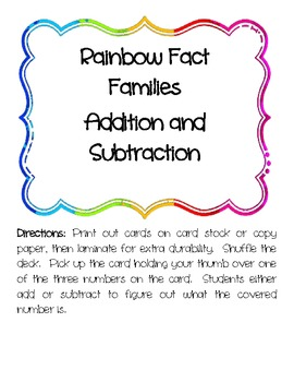 Rainbow Fact Families Addition and Subtraction