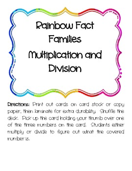 Rainbow Fact Families Multiplication and Division