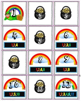 Rainbow Factors- Printable number line, differentiated task cards, and more!