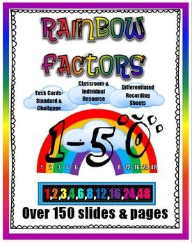 Rainbow Factors- Printable number line, differentiated tas