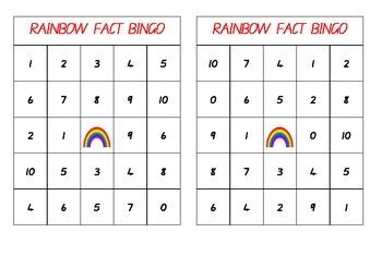 Rainbow Facts / Friends Bingo