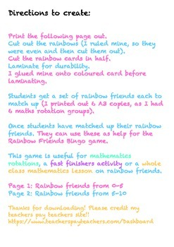 Rainbow Facts / Rainbow Friends Match Game