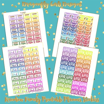 DYI Rainbow Family Time Printable Planner Stickers