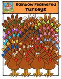 Rainbow Feathered Turkeys {P4 Clips Trioriginals Digital Clip Art}
