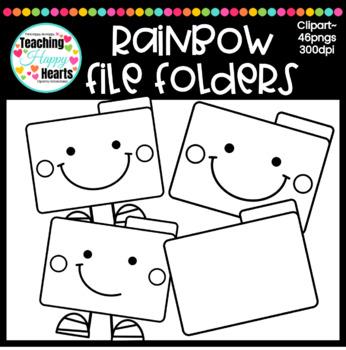 Rainbow File Folders Clipart