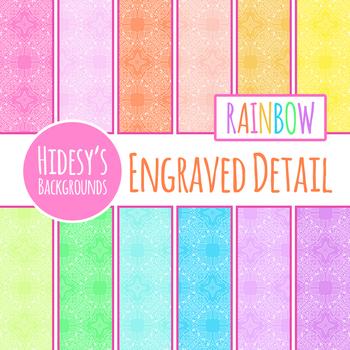 Rainbow Filigree / Engraving Digital Paper / Background Clip Art Set Commercial