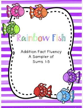 Rainbow Fish Addition Fact Fluency Sums 1-5