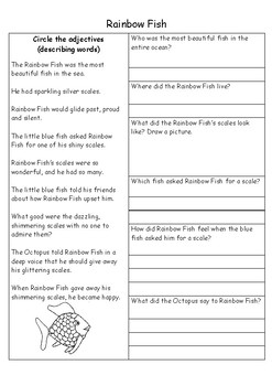 Rainbow Fish Adjective Hunt & Comprehension Questions by ...