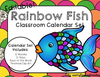 Editable Rainbow Fish Calendar Set
