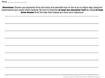 Rainbow Fish Character Trait Close Reading Chart CCSS