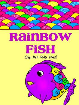 Rainbow Fish Clip Art {Bubble and Scales Digital Papers & 4 Fish Clip Art}