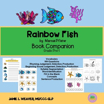 Rainbow Fish Speech Therapy Worksheets Teaching Resources