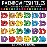 Rainbow Fish Letter and Number Tiles Clipart 1