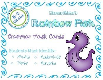 Rainbow Fish Themed Grammar Task Cards: Parts of Speech