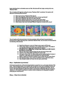 Rainbow Fish Watercolor Resist Painting
