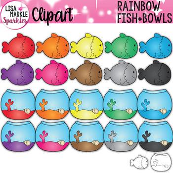 Rainbow Fish and Fishbowl Clipart