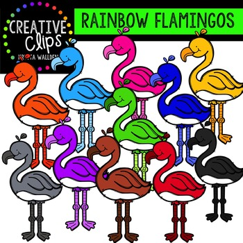 Rainbow Flamingos {Creative Clips Digital Clipart}
