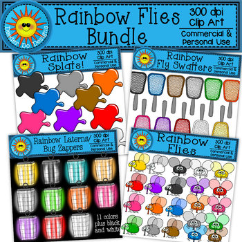 Rainbow Flies Clip Art Bundle