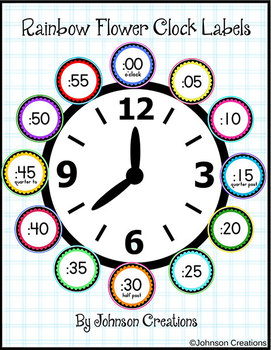 Rainbow Flower Clock Labels