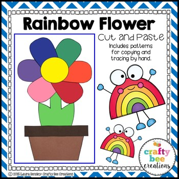 Rainbow Flower Cut and Paste