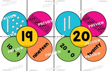 Rainbow Flower Place Value Numbers 1-20 Puzzles