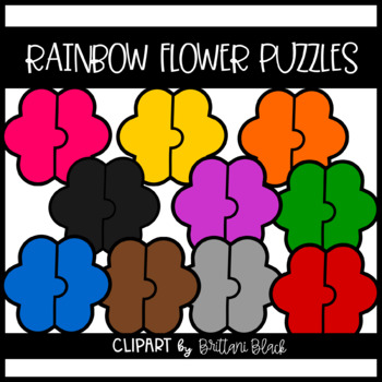 Rainbow Flower Puzzles~ Clipart