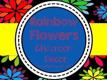 Black and Rainbow Flowers Classroom Decor