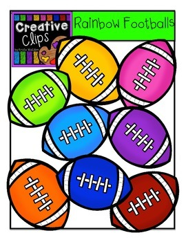 Rainbow Footballs {Creative Clips Digital Clipart}