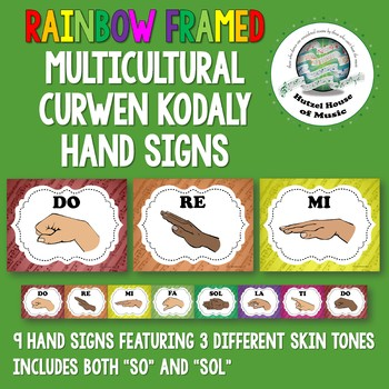 Rainbow Framed Multicultural Curwen Kodaly Hand Signs